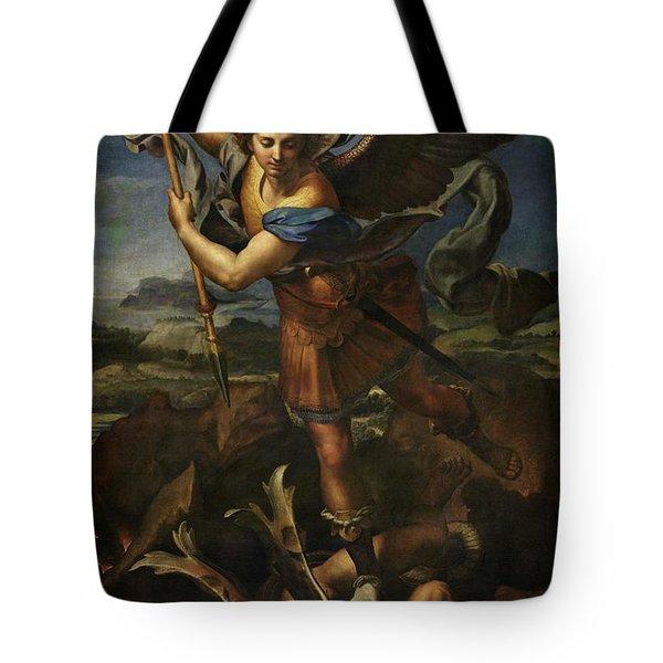 Saint Michael Defeats Satan Tote Bag