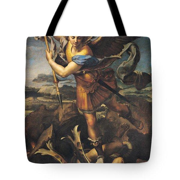 Saint Michael Overwhelming The Demon Tote Bag by Raphael