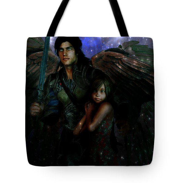 Tote Bag featuring the painting Saint Michael Protect Us by Suzanne Silvir