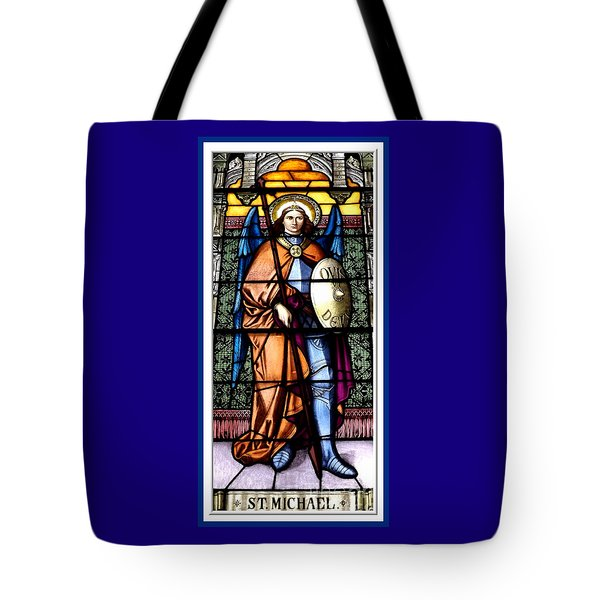 Saint Michael The Archangel Stained Glass Window Tote Bag