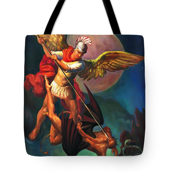 Tote Bag featuring the painting Saint Michael The Warrior Archangel by Svitozar Nenyuk