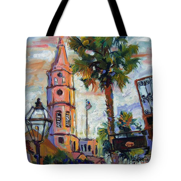 Saint Michaels Church Charleston Sc Oil Painting Tote Bag