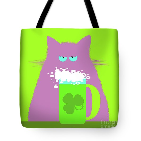 Saint Patrick's Day Lilac Cat  Tote Bag