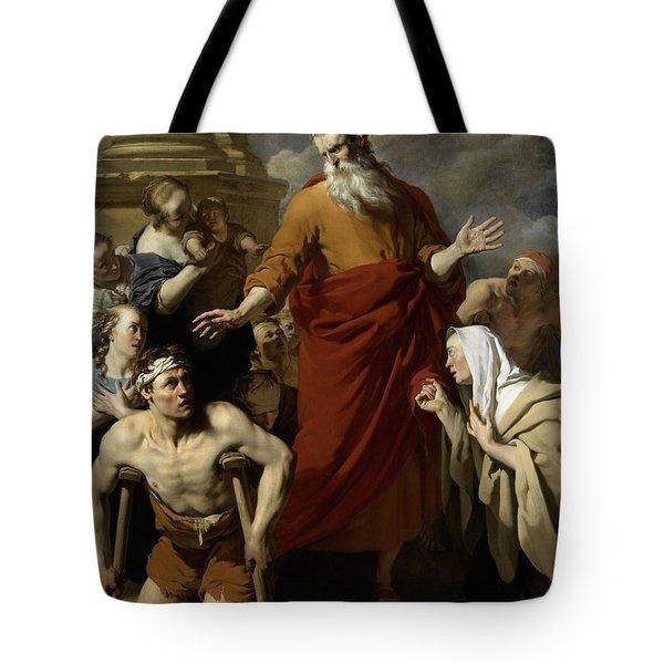 Saint Paul Healing The Cripple At Lystra Tote Bag by Karel Dujardin