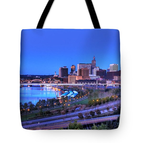 Saint Paul Minnesota Skyline Blue Morning Light Tote Bag
