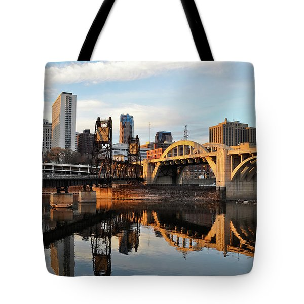Tote Bag featuring the photograph Saint Paul Mississippi River Sunset by Kyle Hanson