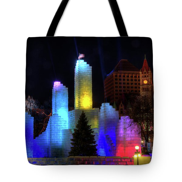 Saint Paul Winter Carnival Ice Palace 2018 Lighting Up The Town Tote Bag