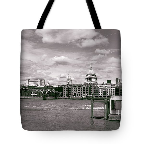 Saint Pauls Cathedral Along The Thames Tote Bag by Nop Briex
