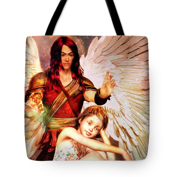 Tote Bag featuring the painting Saint Raphael Heals by Suzanne Silvir