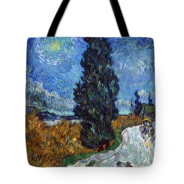 Saint-remy Road With Cypress And Star Tote Bag