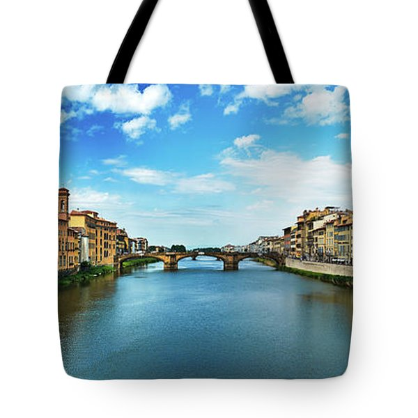 Panoramic View Of Saint Trinity Bridge From Ponte Vecchio In Florence, Italy Tote Bag