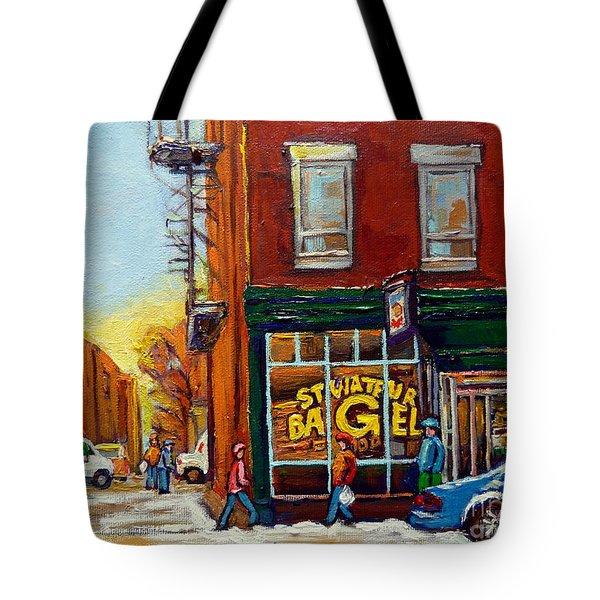 Saint Viareur And Park Avenue Bagel Shop Tote Bag by Carole Spandau