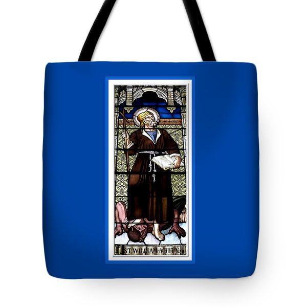 Saint William Of Aquitaine Stained Glass Window Tote Bag