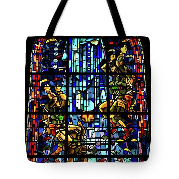 Sainte-mere-eglise Paratrooper Tribute Stained Glass Window Tote Bag