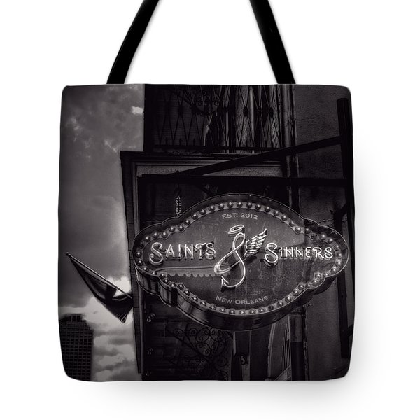 Saints And Sinners In Black And White Tote Bag