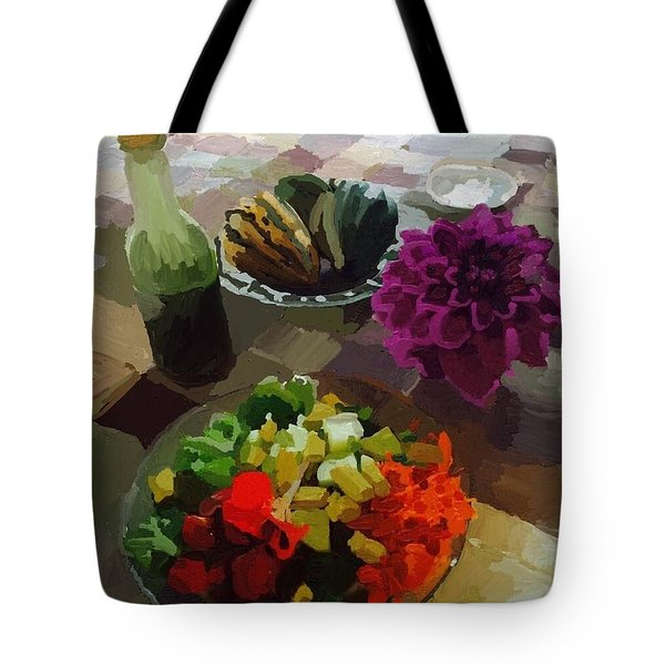 Salad And Dressing With Squash And Dahlia Tote Bag by Melissa Abbott