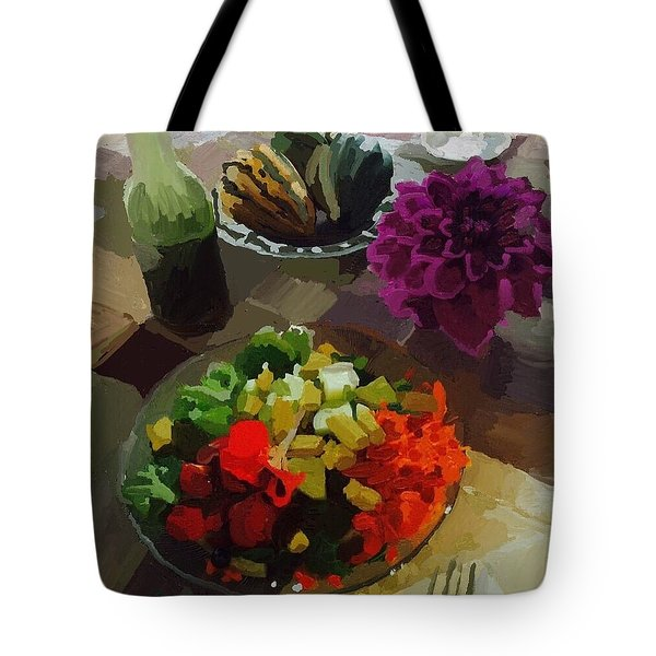 Salad And Dressing With Squash And Purple Dahlia Tote Bag