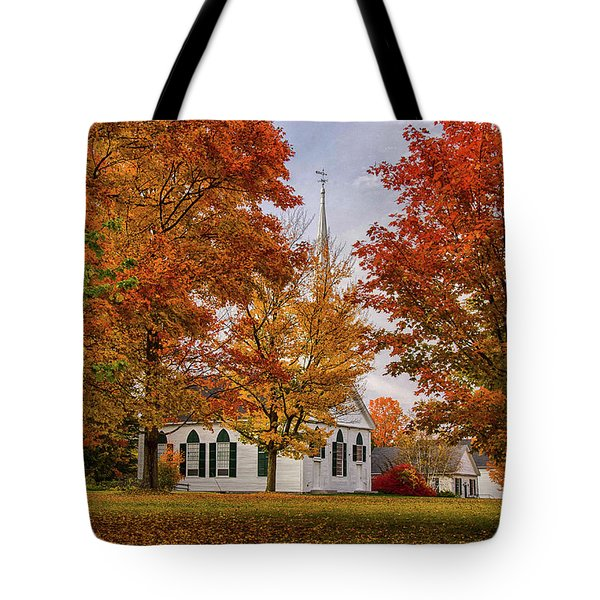 Tote Bag featuring the photograph Salem Church In Autumn by Jeff Folger
