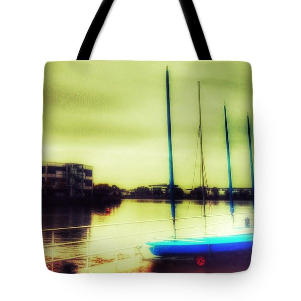 Tote Bag featuring the photograph Salford Quays Boats Waiting by Isabella F Abbie Shores FRSA
