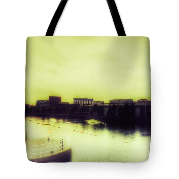 Tote Bag featuring the photograph Salford Quays Promenade by Isabella F Abbie Shores FRSA