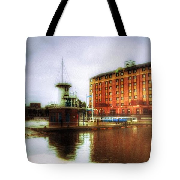 Tote Bag featuring the photograph Salford Quays Red Brick Building by Isabella F Abbie Shores FRSA