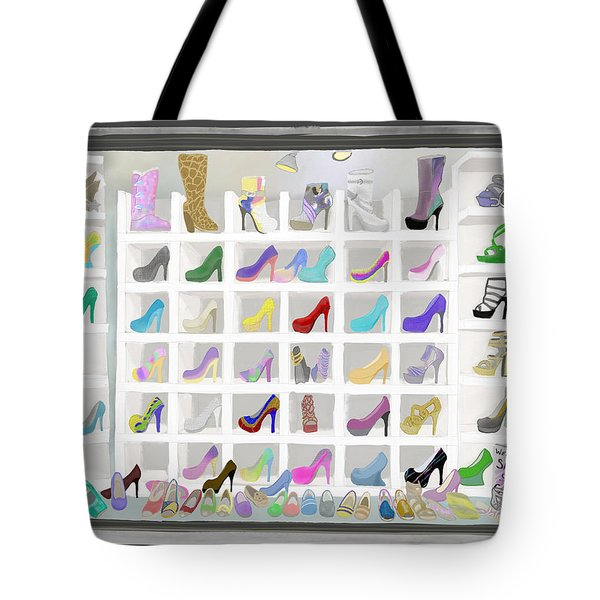 Tote Bag featuring the painting Salina's Shoe Closet by Melinda Ledsome