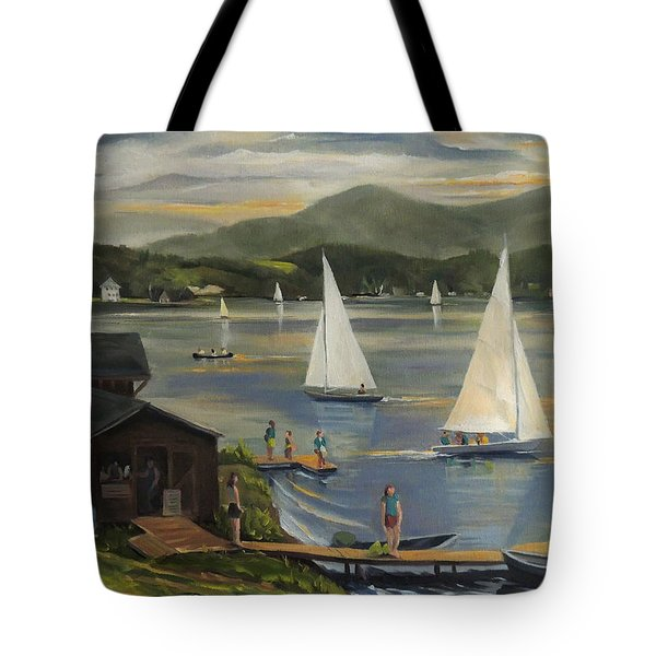 Sailing At Lake Morey Vermont Tote Bag by Nancy Griswold