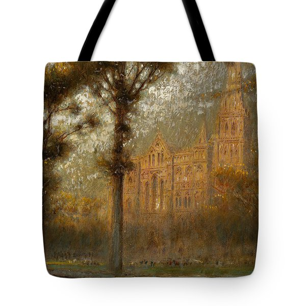 Salisbury Cathedral Tote Bag by Albert Goodwin
