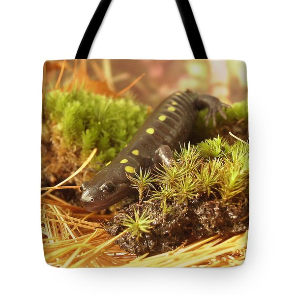 Tote Bag featuring the painting Sally The Spotted Salamander by Martha Ayotte