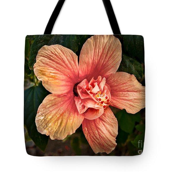 Salmon Color Hibiscus Tote Bag