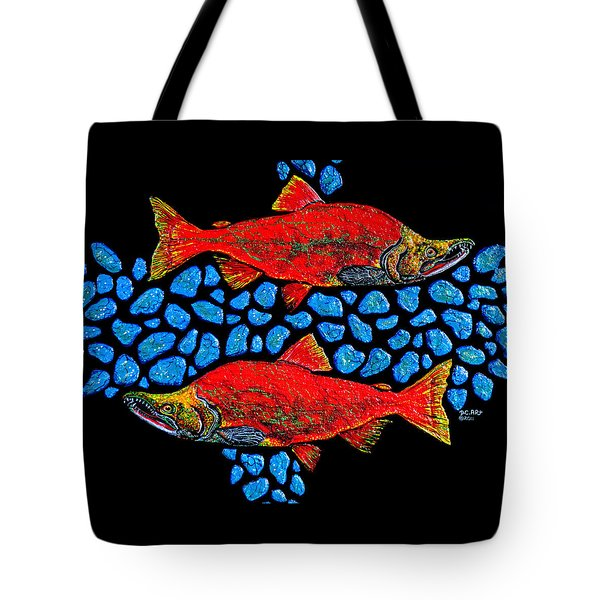 Tote Bag featuring the painting Salmon by Debbie Chamberlin