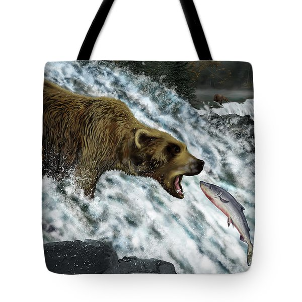 Tote Bag featuring the photograph Salmon Fishing by Don Olea