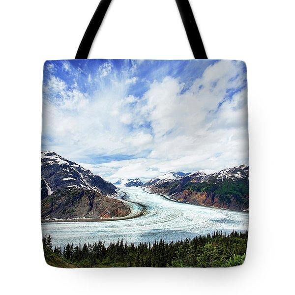 Salmon Glacier Tote Bag by Heidi Brand