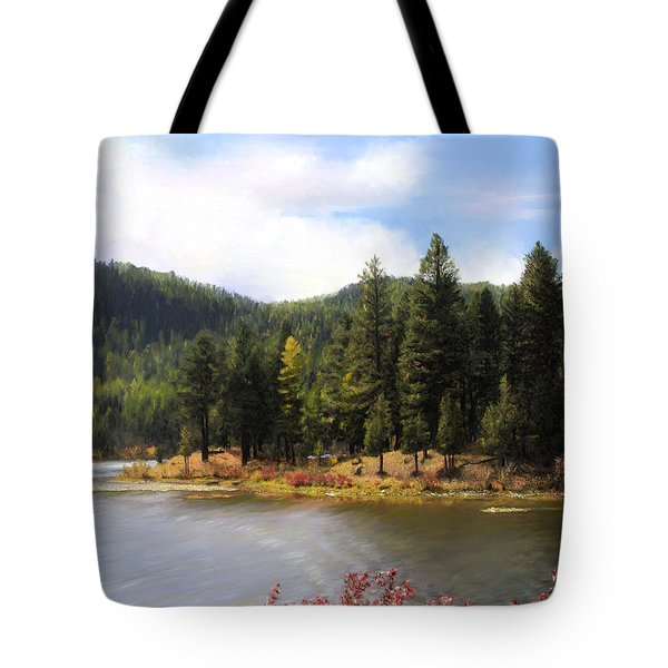 Tote Bag featuring the painting Salmon Lake Montana by Susan Kinney