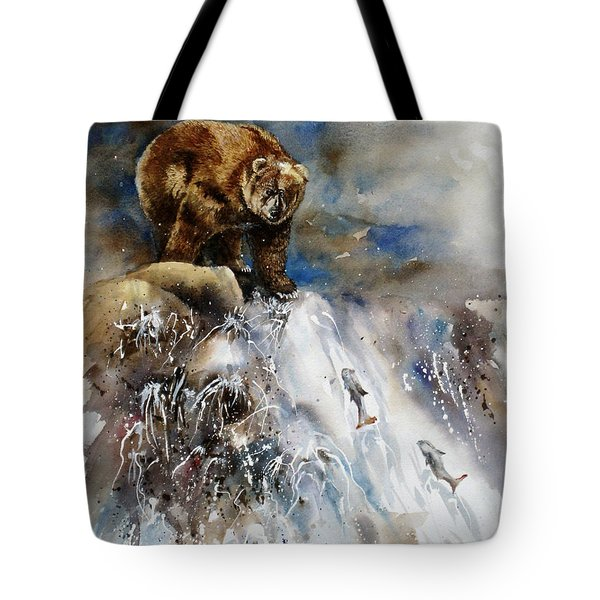 Salmon Run Tote Bag by Mary McCullah