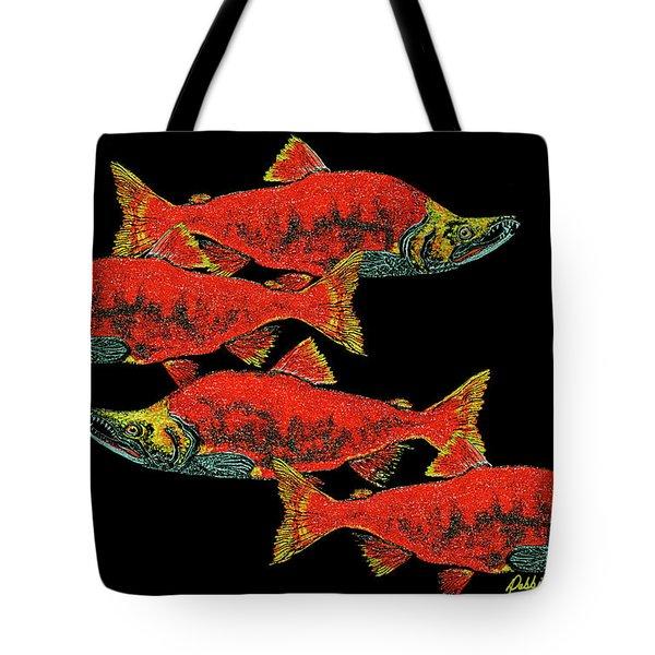 Salmon Season Tote Bag by Debbie Chamberlin