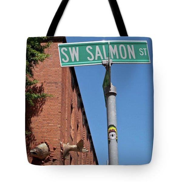 Salmon Through A Building Tote Bag