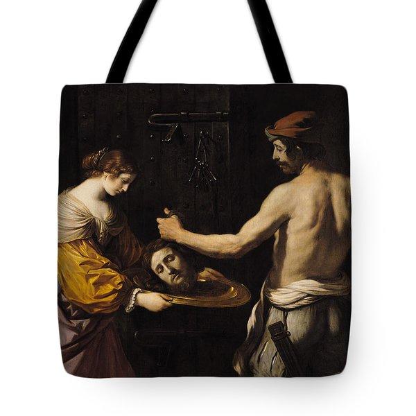 Salome Receiving The Head Of St John The Baptist Tote Bag by Giovanni Francesco Barbieri