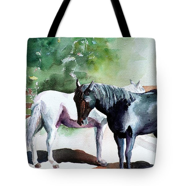 Salt And Pepper Horses Tote Bag