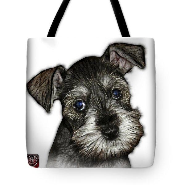 Tote Bag featuring the digital art Salt And Pepper Schnauzer Puppy 7206 Fs by James Ahn