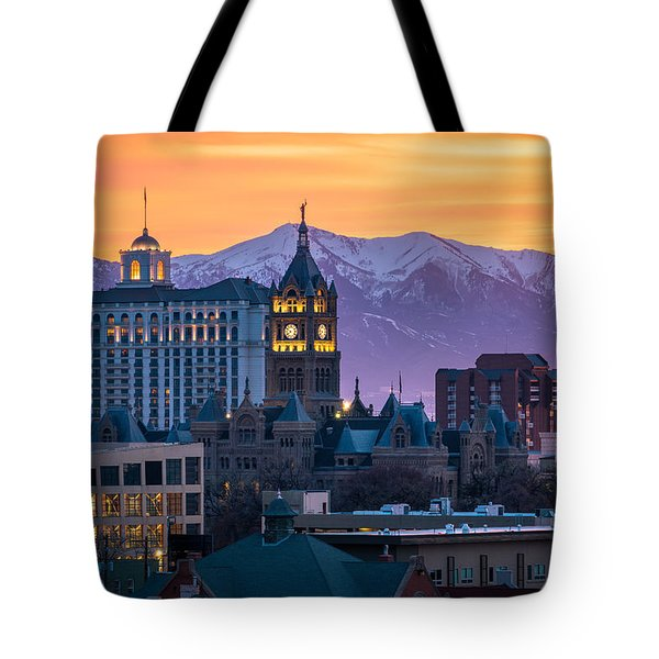 Salt Lake City Hall At Sunset Tote Bag