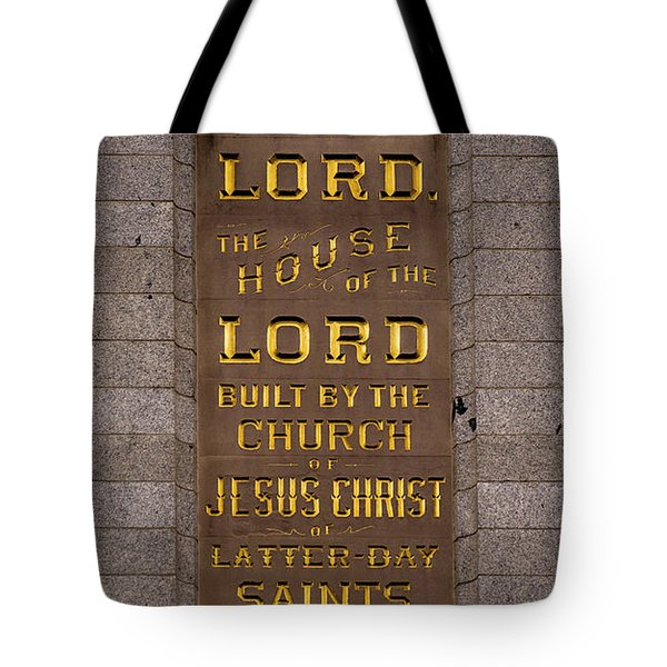 Salt Lake Lds Temple Dedication Plaque Close-up Tote Bag