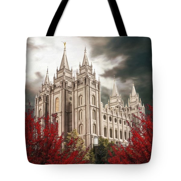 Salt Lake Temple - A Light In The Storm - Cropped Tote Bag