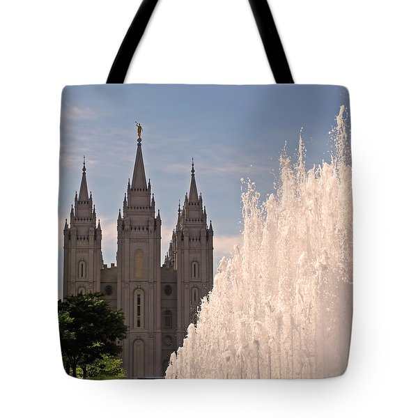 Tote Bag featuring the photograph Salt Lake Temple And Fountain by Rona Black