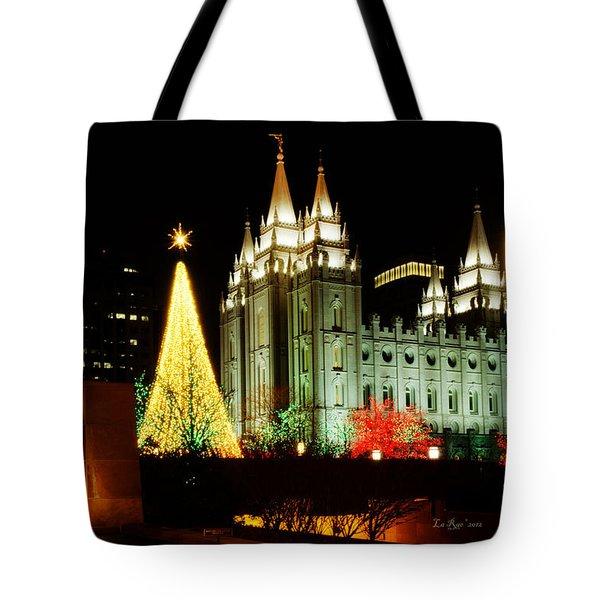 Salt Lake Temple Christmas Tree Tote Bag by La Rae  Roberts