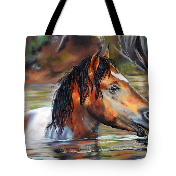 Tote Bag featuring the pastel Salt River Tango by Karen Kennedy Chatham