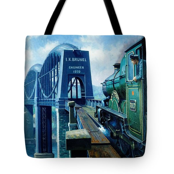Saltash Bridge. Tote Bag by Mike  Jeffries