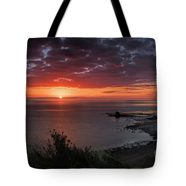 Saltwick Bay Sunrise  Tote Bag by David  Hollingworth