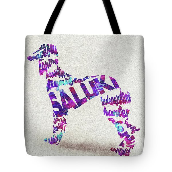 Tote Bag featuring the painting Saluki Dog Watercolor Painting / Typographic Art by Inspirowl Design