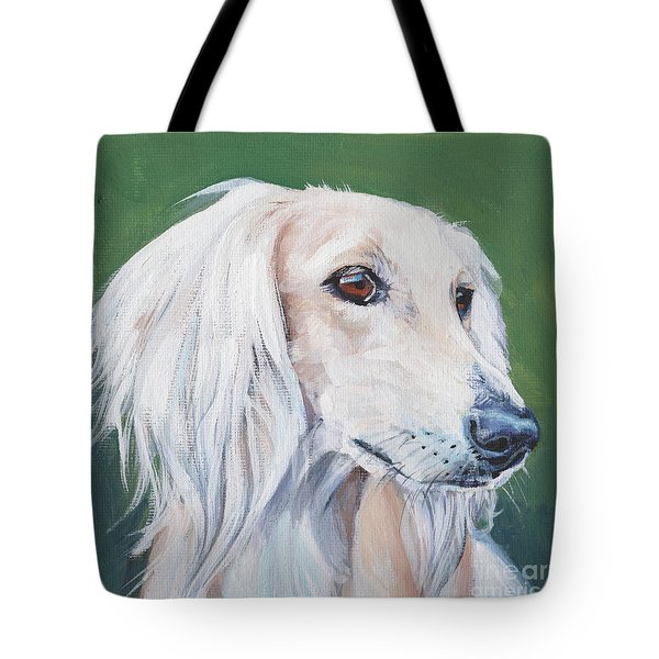 Tote Bag featuring the painting Saluki Sighthound by Lee Ann Shepard